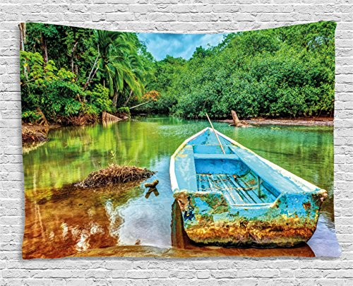 Ambesonne Landscape Tapestry, Old Boat in Tropical River in National Park of Costa Rica Nature Photo, Wall Hanging for Bedroom Living Room Dorm, 80WX60L inches, Green Brown and Aqua