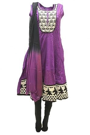 CSM3754 Azul Violeta y Negro Traje Churidar Bollywood Indian ...