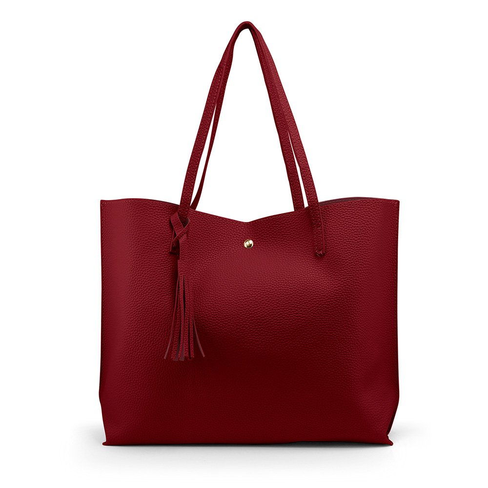 Oct17 Women Large Tote Bag - Tassels Faux Leather Shoulder Handbags, Fashion Ladies Purses Satchel Messenger Bags (Red)