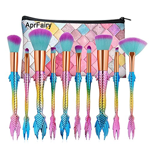 AprFairy 2017 Mermaid Makeup Brushes Set 10pcs with Pink Plaid Makeup Bag Ultra-soft Bristles Face Foundation Beauty Tools Blush Concealer Contouring Make Up Brush Kit - Colorful Gradient