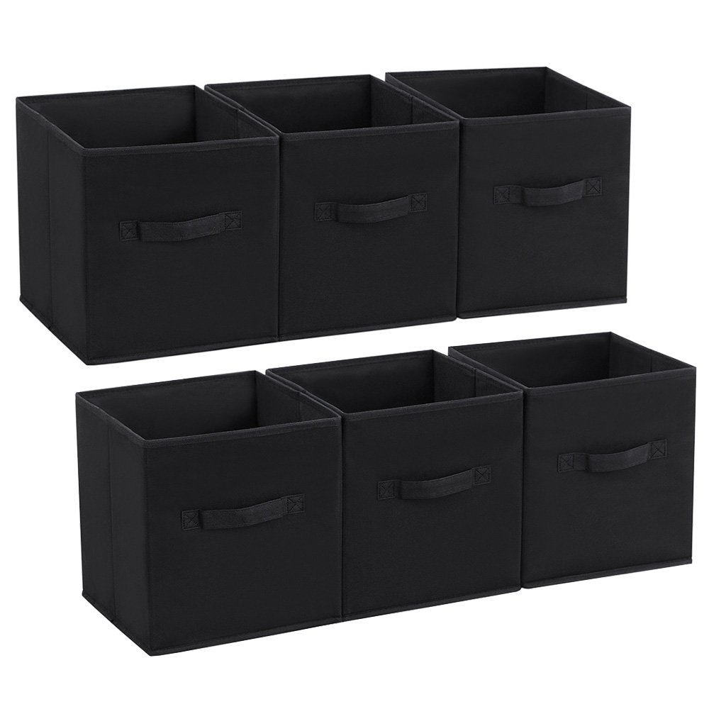 SONGMICS Storage Bins Cubes Baskets Containers with Dual Non-Woven Handles for Home Closet Bedroom Drawers Organizers, Flodable, Black, Set of 6 UROB26H