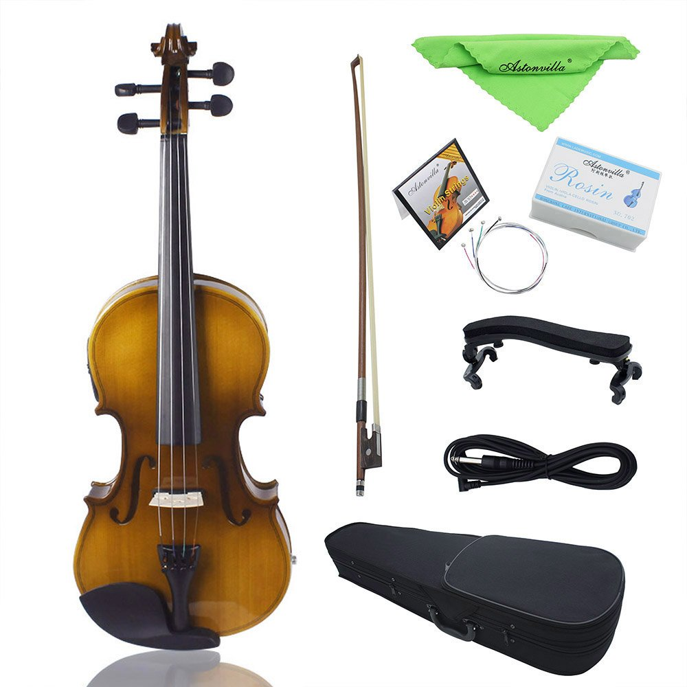 ammoon EQ Electric Violin Fiddle Kit 4/4 Full Size Acoustic Solid Wood Spruce Face Board with Bow Hard Case Shoulder Rest Audio Cable Rosin Extra Strings Clean Cloth Retro Sunset 1