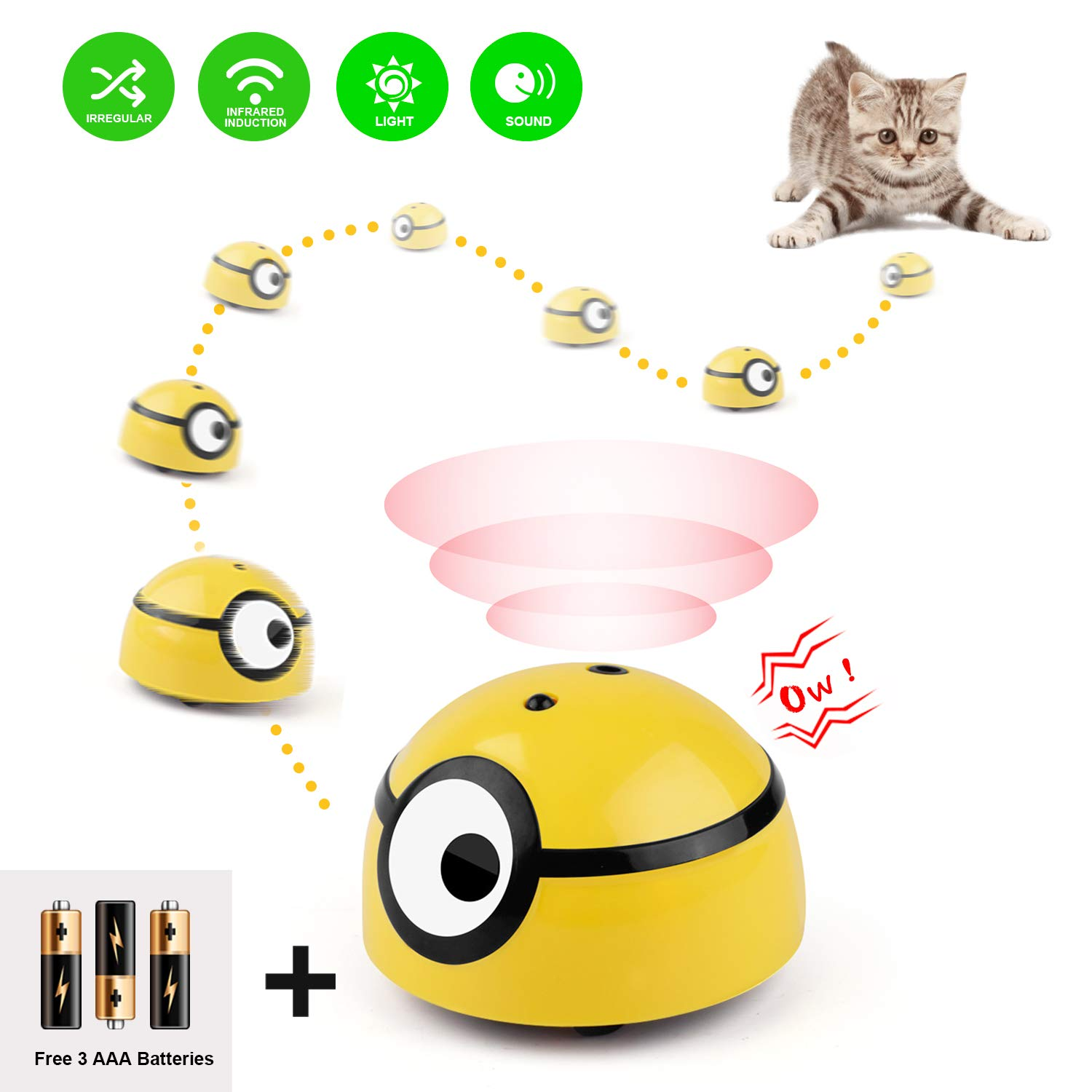 Potaroma Moving Cat Toy Intelligent Escaping, Interactive Runaway Wicked Ball for Small Dogs, Automatic Funny Pet Toy…