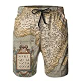 Ding Old Map Africa Continent Men's Quick Dry Beach Pants Swim Trunks Board Shorts Pocket