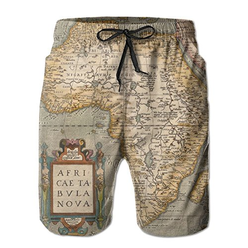 Ding Old Map Africa Continent Men's Quick Dry Beach Pants Swim Trunks Board Shorts with Pocket by Ding