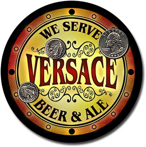 Versace Family Name Beer and Ale Rubber Drink Coasters - Set of 4
