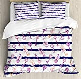 Girls Duvet Cover Set by Ambesonne, Old Medieval Vintage Keys with Ribbons and Diamonds Striped Pattern in French Style, 3 Piece Bedding Set with Pillow Shams, Queen / Full, Purple Blue
