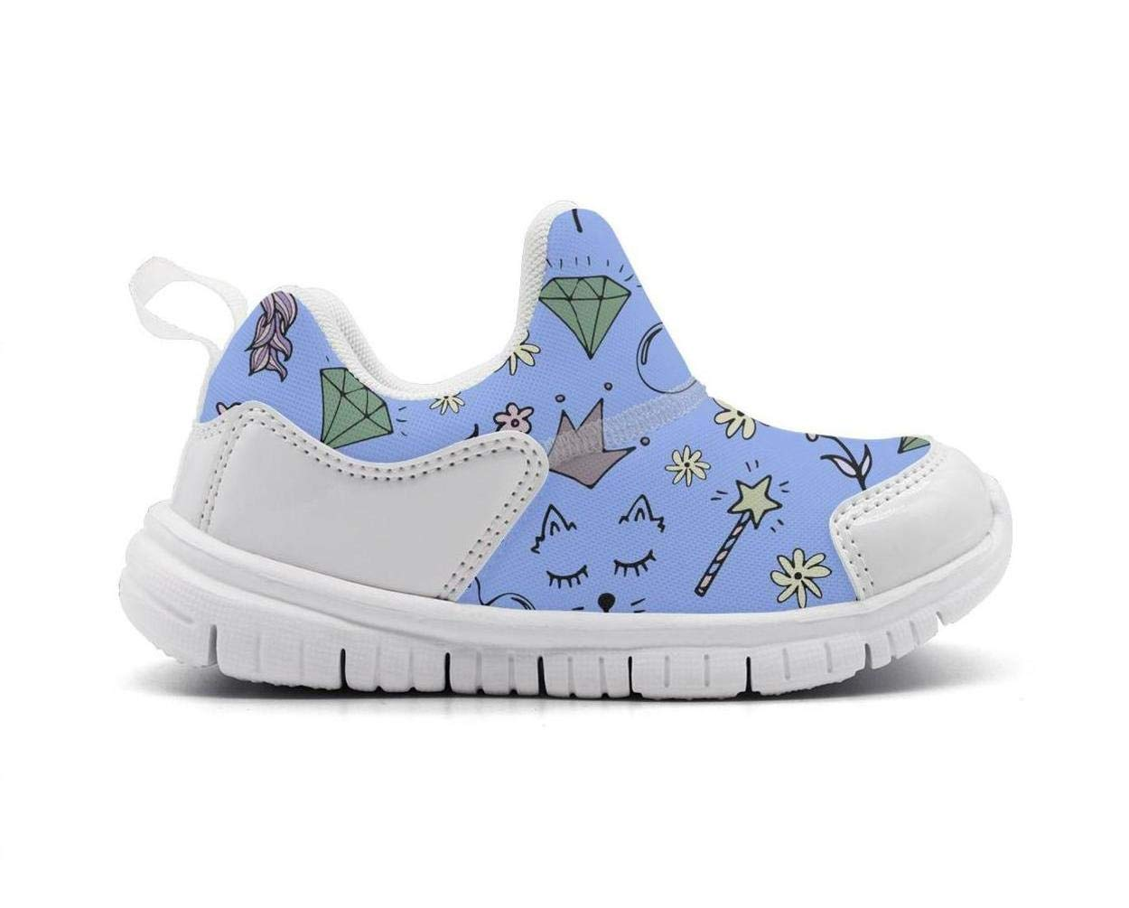 ONEYUAN Children Unicorn Diamond and Cat Kid Casual Lightweight Sport Shoes Sneakers Walking Athletic Shoes