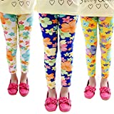 Girls Elegant 3-Pack Stretch Colorful Flower Printed Footless Tights Pants Legging 9-10 Years Style B(3 Pack)