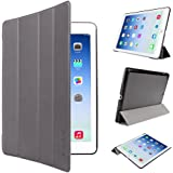 EasyAcc iPad Air Housse Etui, EasyAcc Ultra-mince Etui, avec Fonction de Support et Sommeil/ Reveil Automatique (iPad Air / iPad 5, Gris, PU Cuir)