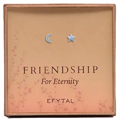 d778f3767 Image Unavailable. Image not available for. Color: Friendship for Eternity  Crescent Moon and Star Stud Earrings ...