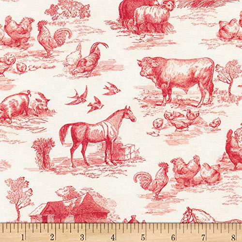 Kaufman Fabrics Down On The Farm Toile Red, Fabric by the Yard