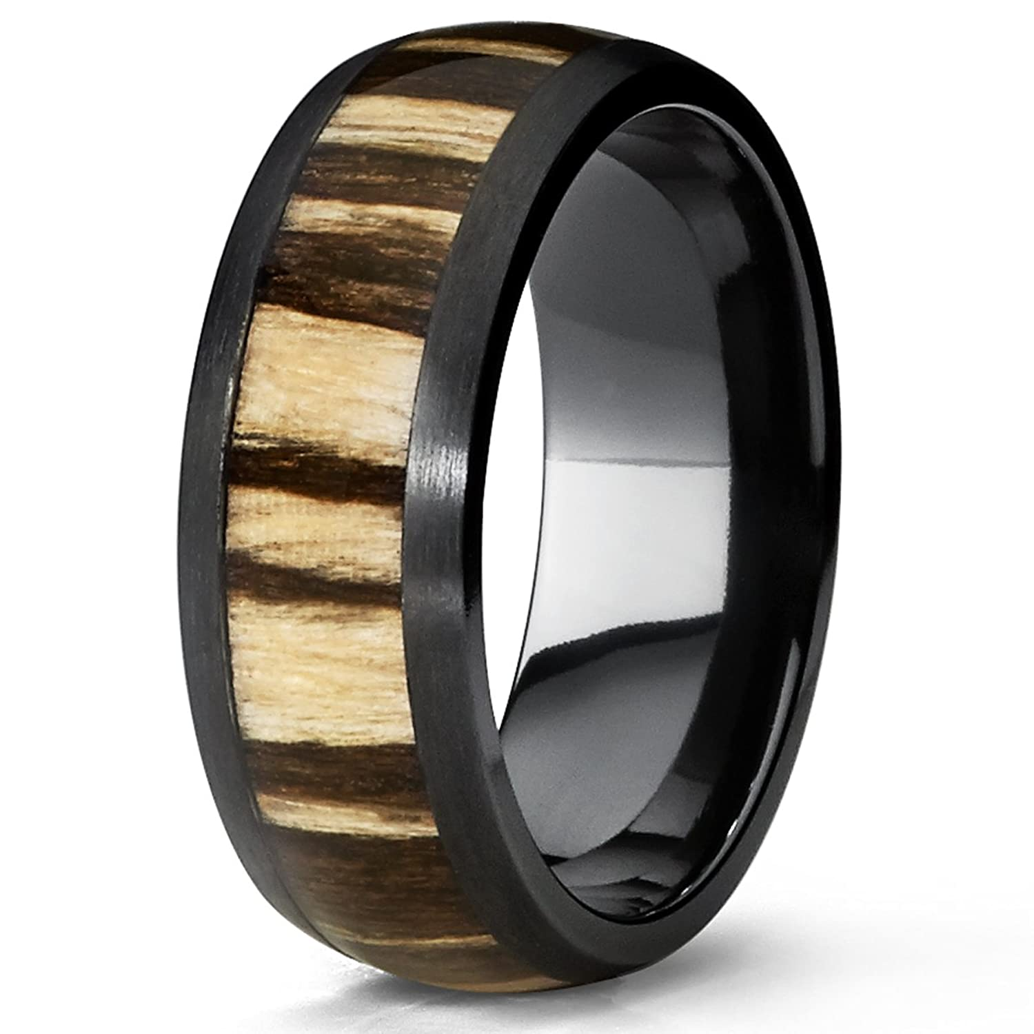 Black Titanium Wedding Band Ring with Real Zebra Wood Inlay 8mm