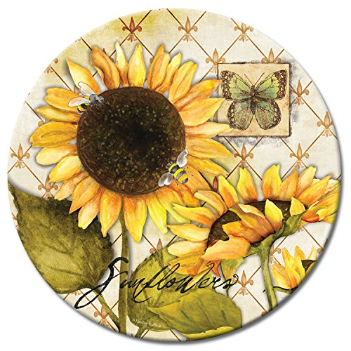 CounterArt Sunflowers in Bloom Lazy Susan Glass Serving Plate by CounterArt