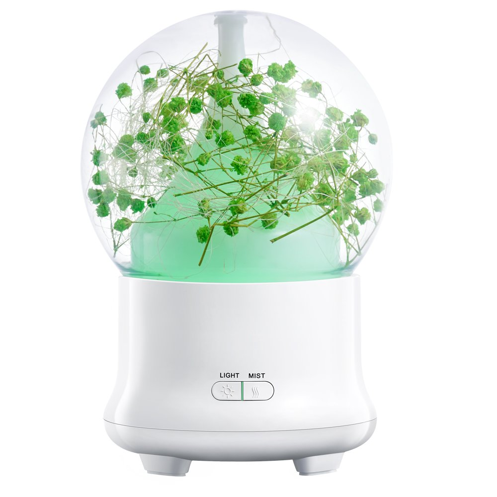 Colorful Cool Mist True-Flower Humidifier,Fragrant Air Humidifiers Capacity-Super Quiet Operation-7 Colors Nightlight (Babysbreath Green)