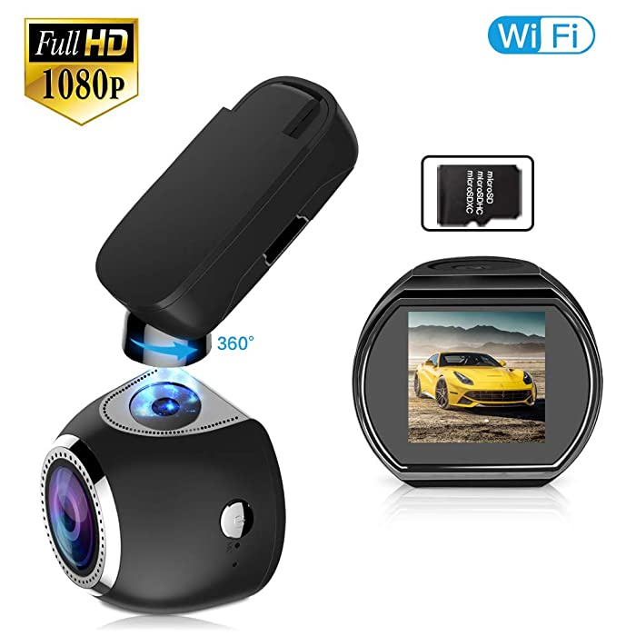 Car Dash Cam WiFi FHD 1080P Car Dash Camera Mini 360 Degree Rotate Angle Dashboard Camera DVR Recorder with G-Sensor, Night Vision, Motion Detection, WDR and 16GB SD Card Included