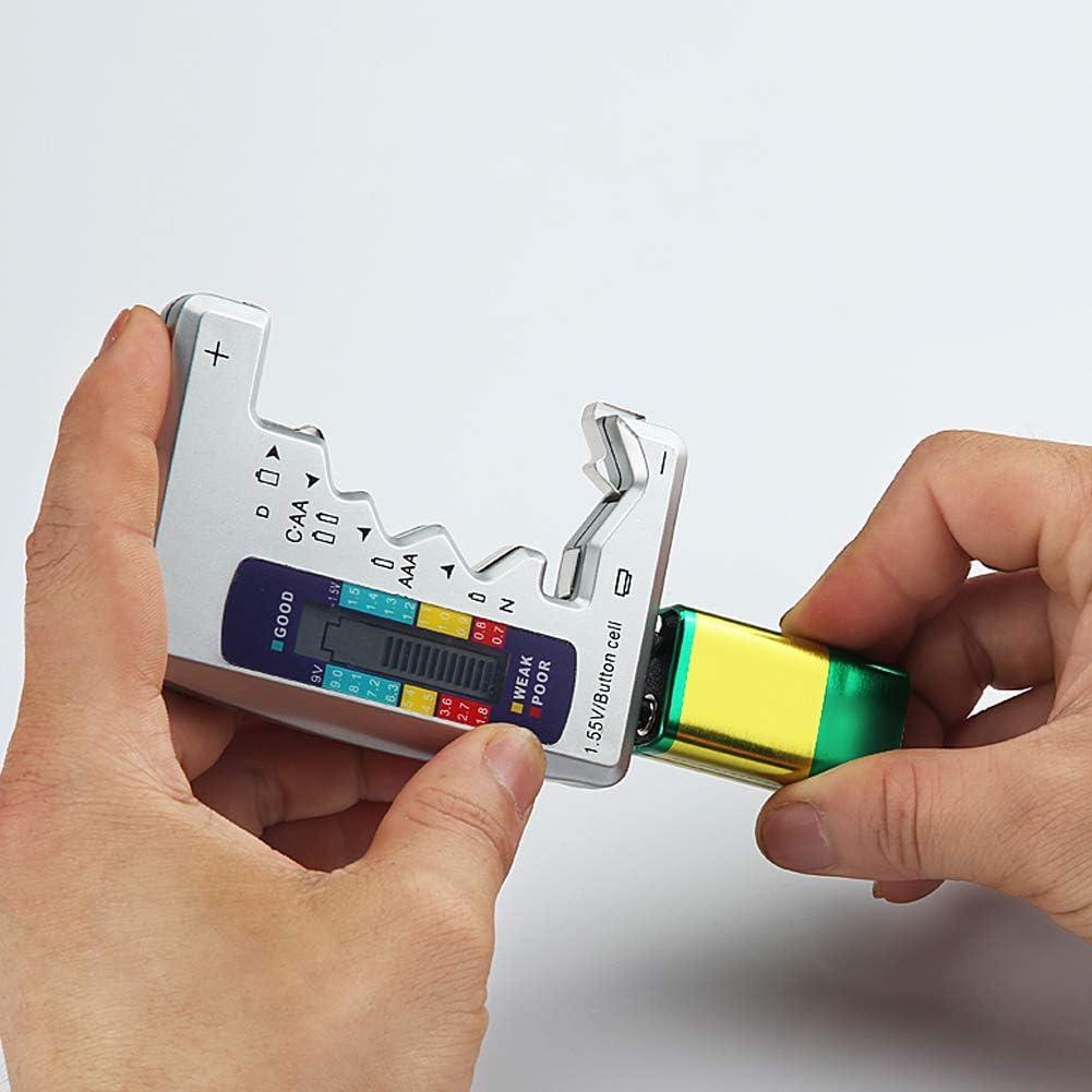 Yisily Battery Checker Digital-universal-batterietester Haushalts Batterie-Tester Battery Checker F/ür Alle Batterie C Aa AAA D N 9 V 1,5 V