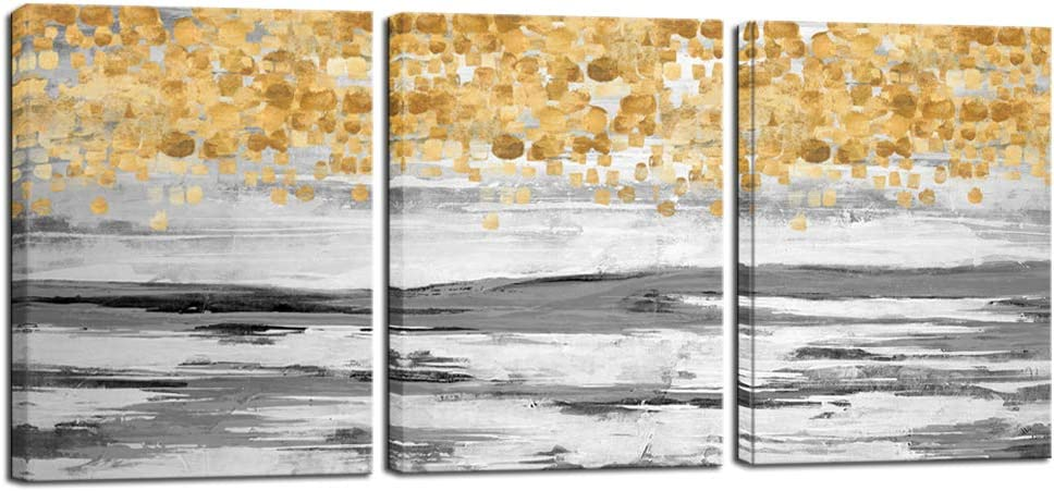 Nachic Wall 3 Piece Abstract Painting for Wall Gold and Grey Wall Art Contemporary Home Office Decoration Gallery Wrapped Modern Painting Ready to Hang