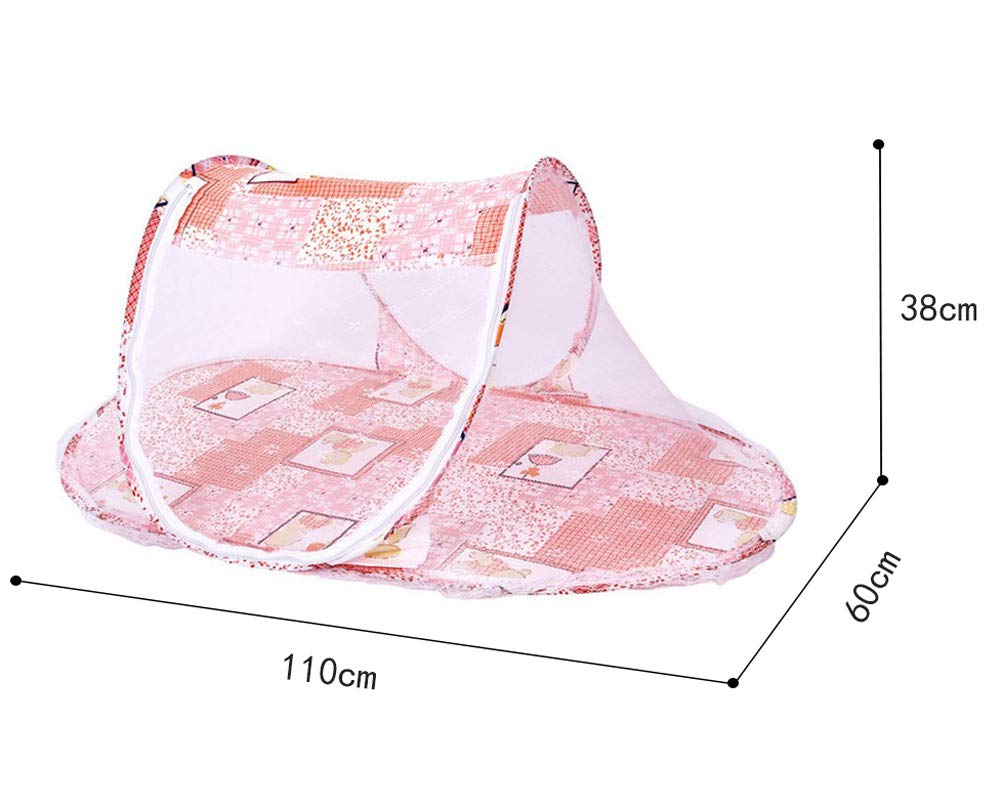 Baby Mosquito Net Tent Foldable Portable Cots Insects Folding Bed Travel Safe Cribs Zipper Pop Up Bed Mesh Outdoor Tent Breathable Anti Mosquitoes Bed with Pillow Orange 0-24 Months