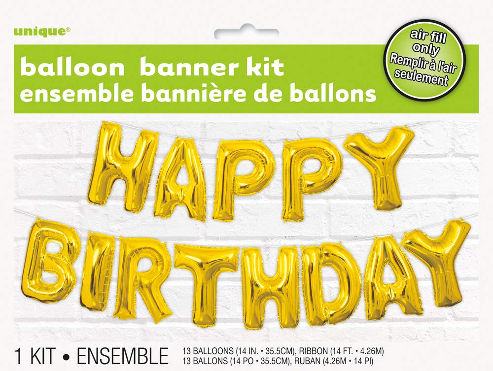 Foil Gold Happy Birthday Letter Balloon Banner Kit Unique Party 53679