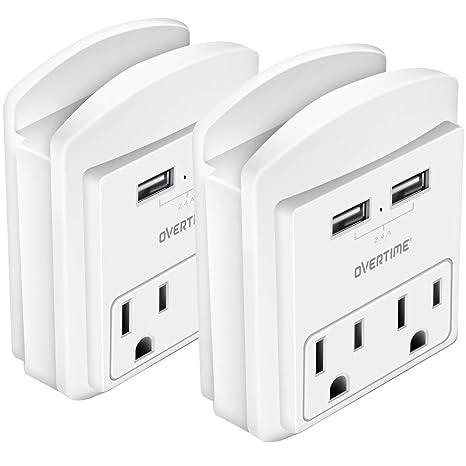 Amazon.com: Estante de enchufe: cargador de pared USB con 2 ...