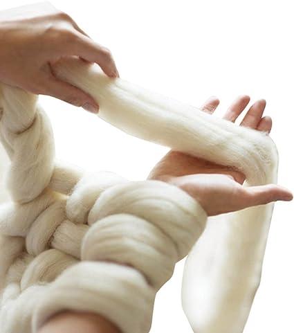 Giant Laine Grosse Maille Fil Pelote de laine à tricoter Extreme Bras Couleurs 1 kg (1 kilogram) Grosse Laine 2.2 lbs ivoire
