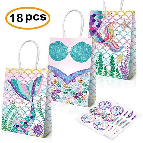 (Mermaid Party Supplies,18 Pack Mermaid Party Bags Mermaid Party Favors Gift Bags,Mermaid Goodie bags Treat Bags)