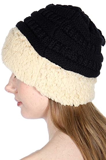 f7be7ee0130 SERENITA Cozy Winter Knit Black Beanie hat with Sherpa Beige Cuff at ...