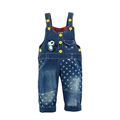 6fcfbac071 Happy Cherry Baby Boy Girl Bib Pants Dungarees Jeans Stars Panda Overalls  Jumpsuit Jean Body Quality Clothing Children Washed Breeches Blue Toddler  12-24 ...