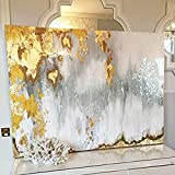 Faicai Art Abstract Metallic Wall Art Gold,Gray,White,'Buried Treasure', 3D Textured Handmade Oil Paintings On Canvas Modern Living Room Wall Decor Bedroom Wall Paintings Wooden Framed 35''x47''