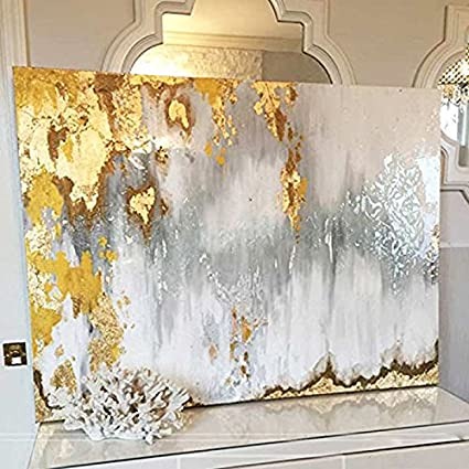 Faicai Art Abstract Metallic Wall Art Goldgraywhiteburied Treasure 3d Textured Handmade Oil Paintings On Canvas Modern Living Room Wall Decor