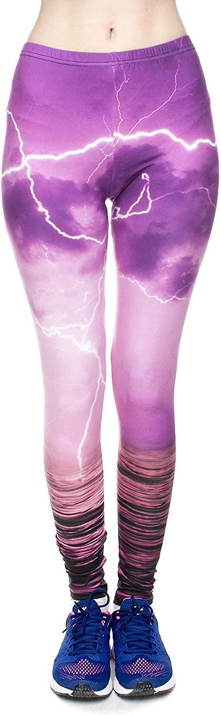 Alivewise Womens Digital Print Galaxy Star Printed High Waist Leggings Pants