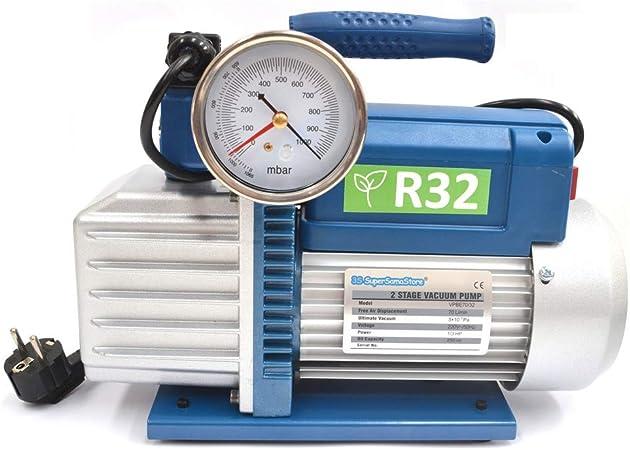 Pompe à vide double étage 70 l//m avec électrovanne et vacuomètre