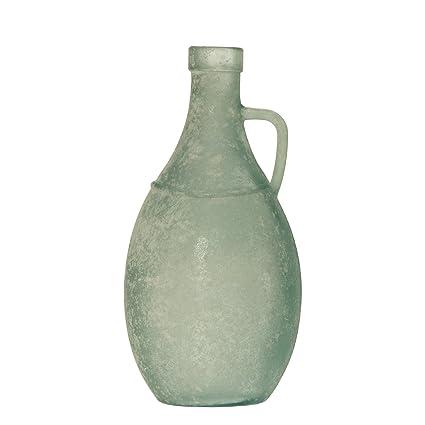 DonRegaloWeb - Botella con asa de vidrio reciclado en blanco verdoso envejecido 13x26cm