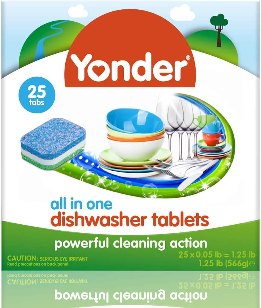 Yonder All in One Dishwasher Tablets – Detergent Non-toxic Fresh Scent  Ultra Clean Soluble Wrap, 25 Count