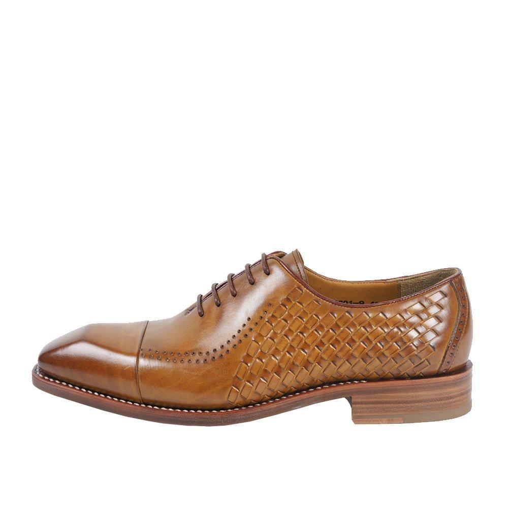 LHLWDGG.K Zapatos Formales Tejidos Para Hombres Zapatos Elegantes De Cuero Trenzados Para Hombres Dos Zapatos Con Punta De Gorro, Marrón, 7 7 brown