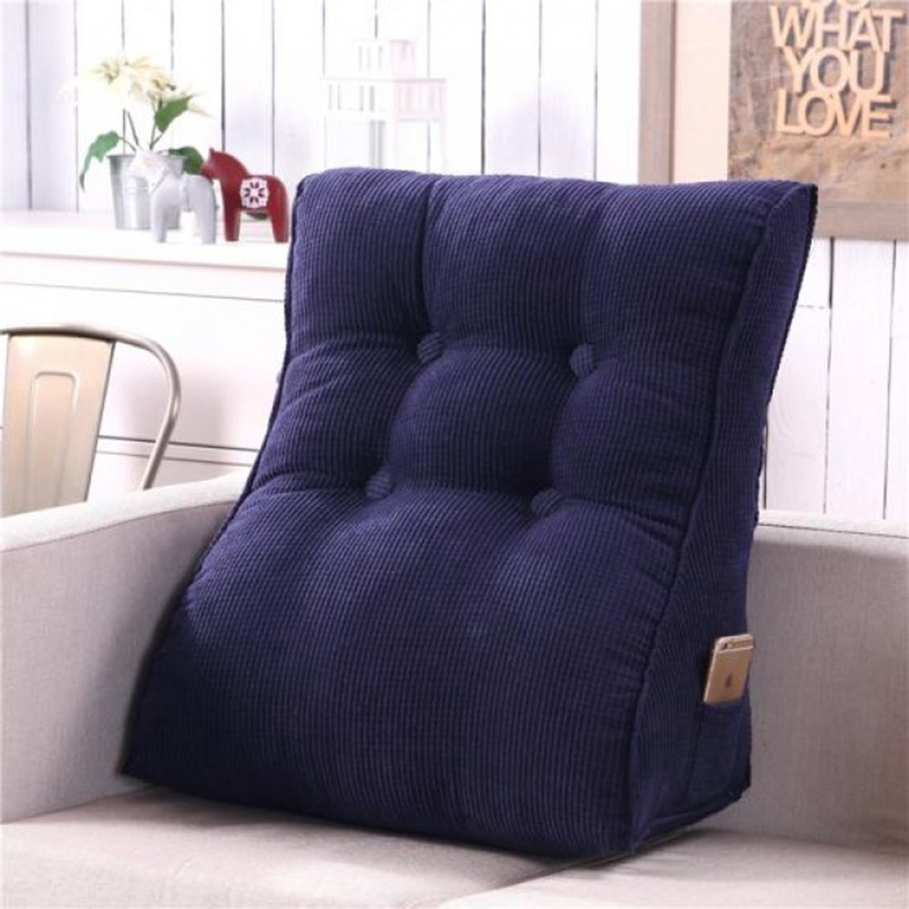 Vercart Sofa Bed Large Upholstered Headboard Filled Triangular Wedge Cushion Bed Backrest Positioning Support Pillow Reading Pillow Office Lumbar Pad with Removable Cover Royal Blue 22x24 Inches