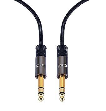 IBRA 2 M - Cable 6.35 mm Plano Delgado Auxiliar Audio Estéreo con Conector ángulo Recto