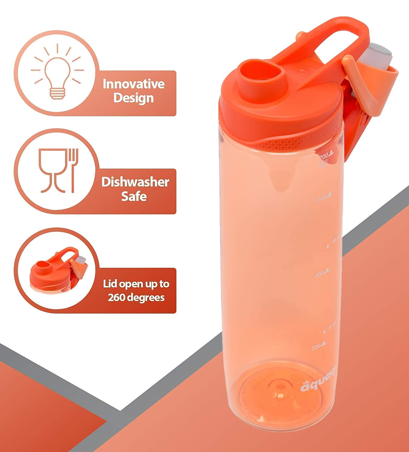 Camping Shaker Bottle Yoga for Gym Aquaa Life Tritan 24oz Non-Toxic BPA-Free Wide Mouth Leak-Proof and Spill-Proof Sports Water Bottle Easy to Clean Protein Shaker Flip Top Outdoors