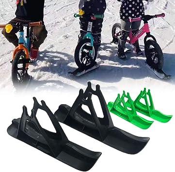 Jiecikou 2Pcs 12 Inch Kids Snowboard Ski Sled for Balance Bike Scooter Wheel Parts