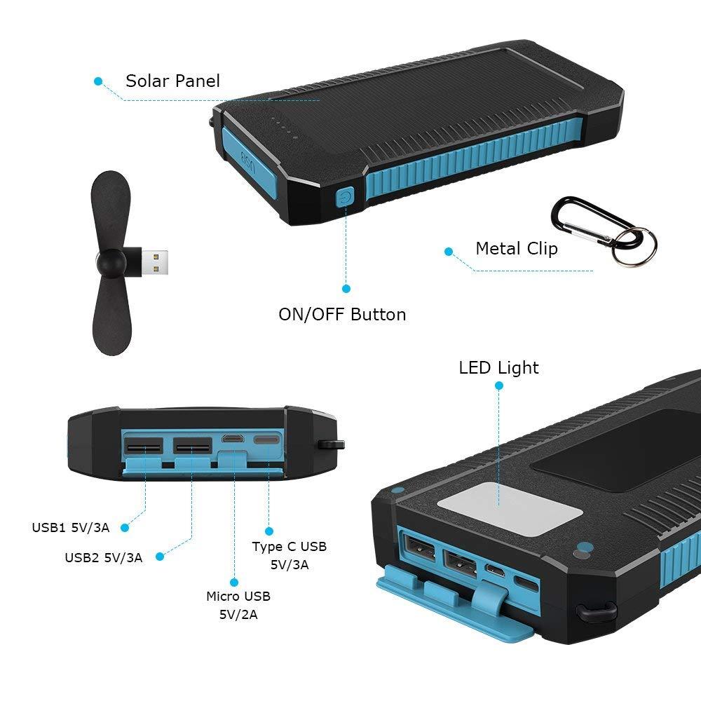 Innoo Tech Cargador Solar 20000mAh, Power Bank portátil con Batería Externa y Protección IP65 (a Prueba de Golpes, Agua, Polvo), Indicadores y Linterna LED para teléfono Android, Apple, Altavoces