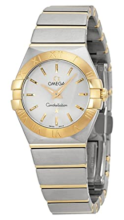 2a6842530a047 Image Unavailable. Image not available for. Color  Omega Constellation  Silver Dial Stainless Steel and Gold Ladies Watch ...