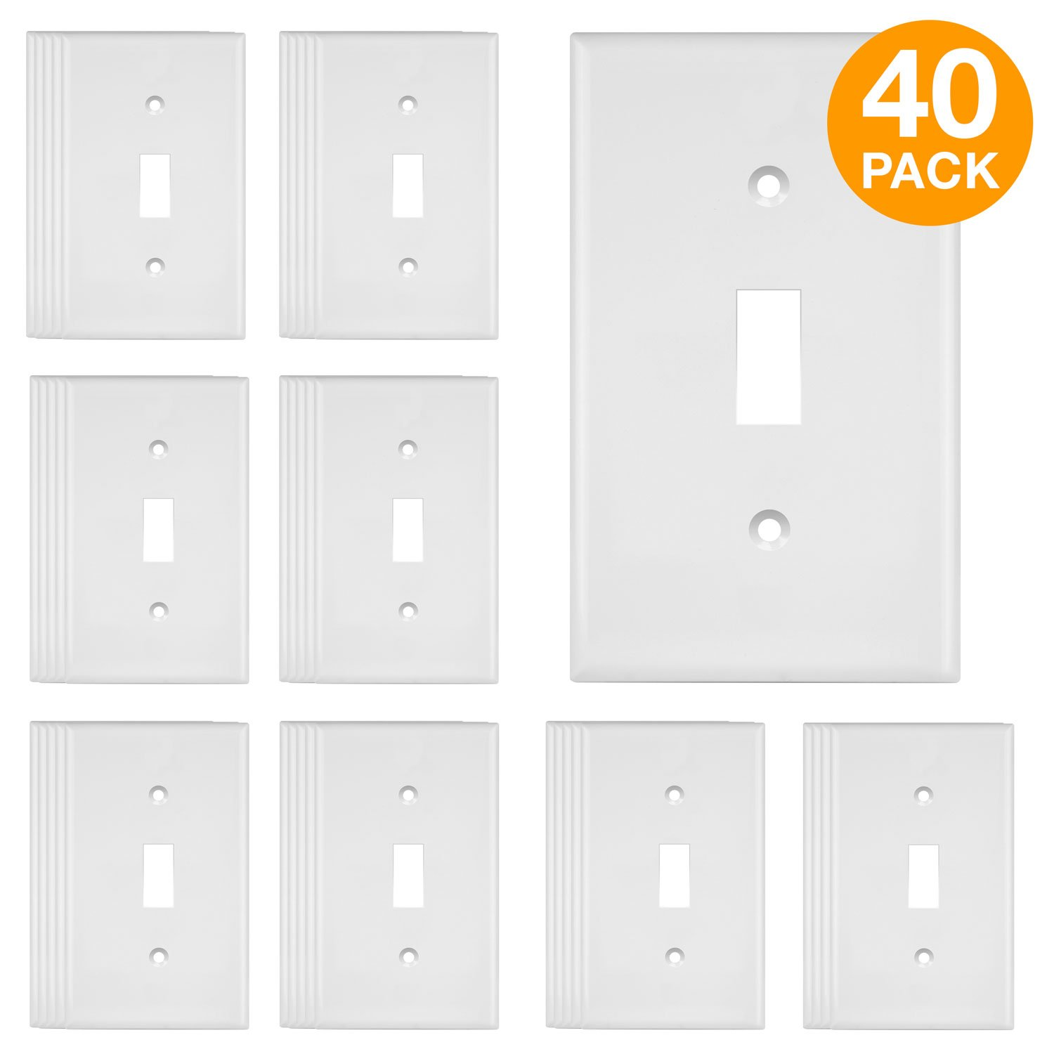 ENERLITES Toggle Light Switch Wall Plate, Size 1-Gang 4.50'' x 2.76'', Unbreakable Polycarbonate Thermoplastic, 8811-W-40PCS, White (40 Pack)