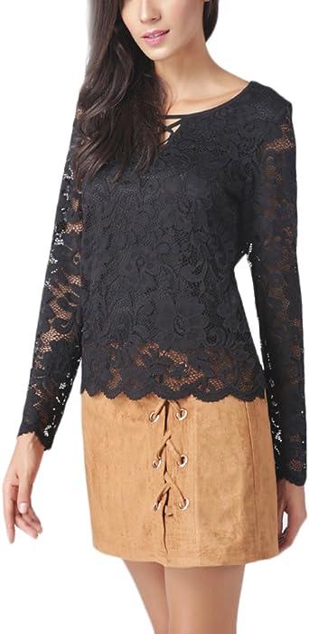 BOLAWOO Mujer Tops Camisetas Manga Larga Negras Encaje Hueco Fiesta Blusa Elegantes Vintage Cuello Redondo Slim Moda Basicas Primavera Otoño Camisas Blusones Blouse: Amazon.es: Ropa y accesorios