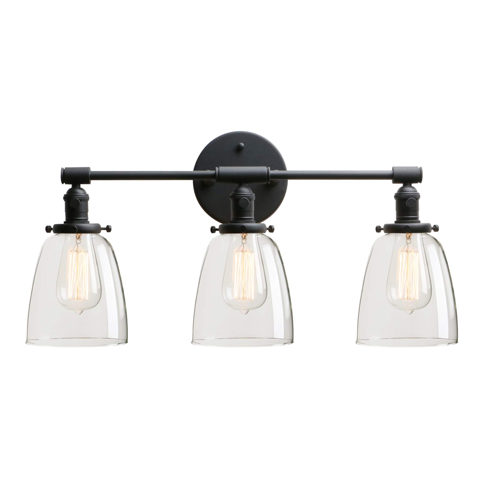 Permo Vintage Industrial Antique Three-Light Wall Sconces with Oval Cone Clear Glass Shade (Black)