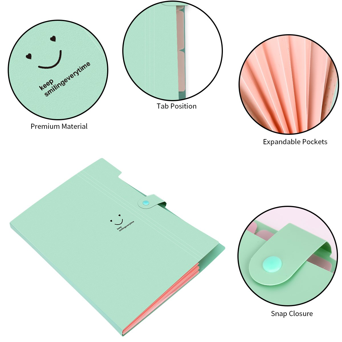 Expanding File Folder with Snap Closure, Yigou Letter A4 Paper Pockets Accordion Document Organizer 5 Pockets (Jade)