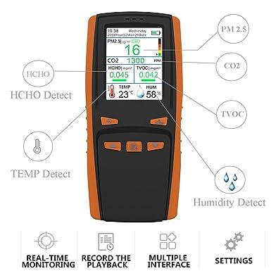 Fambasis Temperatur Und Luftfeuchtigkeit Innen Air Qualität Monitor Digitales Detektor Hcho Pm2 5 Pm1 0 Pm10 Tvoc Temp Aqi Tester Thermo Gewerbe Industrie Wissenschaft