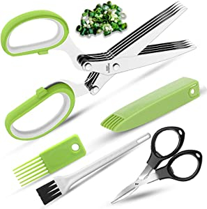 Premium Herb Scissors with 5 Stainless Steel Blades. Kitchen Shear Mincer Set with Cleaning comb Safe Cover,Ideal Garden Kitchen Gadgets for Shredding Paper Food Salad Herb, black collapsible scissor