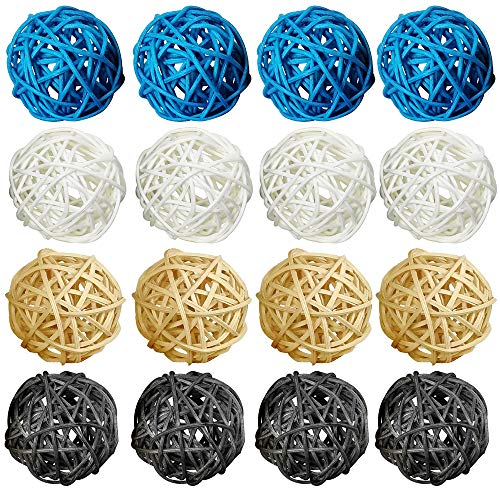 (ZZPRO 16 Pcs 2 Inch Wicker Rattan Balls Decorative Themed Party Decoration Tree Decoration Wedding Table Decoration Baby Shower Orbs Vase Fillers for Craft Project (Blue Natural Gray White))