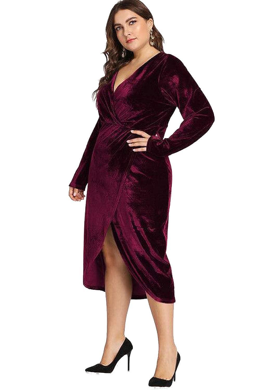 27a145f241 ESPRLIA Women s Plus Size High Waist Velvet Sexy Faux Wrap Pencil Cocktail  Midi Dresses